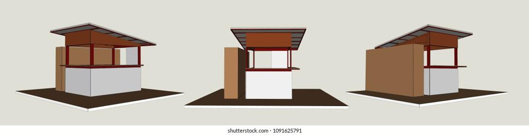 Small Street shop, Vector & Illustration