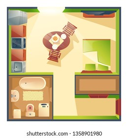 Small studio apartment with combined kitchen, living room and bedroom cartoon vector top view plan with dinning table, kitchen appliances, sleeping bed, bathroom furniture illustration. Modern flat