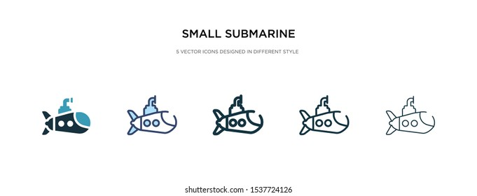 small submarine icon in different style vector illustration. two colored and black small submarine vector icons designed in filled, outline, line and stroke style can be used for web, mobile, ui