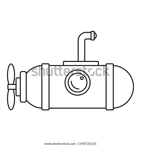 Small Submarine Icon Outline Illustration Small Stock Vector