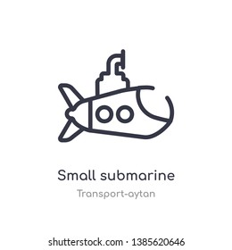 small submarine outline icon. isolated line vector illustration from transport-aytan collection. editable thin stroke small submarine icon on white background