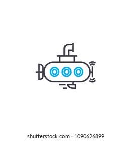 Small submarine vector thin line stroke icon. Small submarine outline illustration, linear sign, symbol concept.