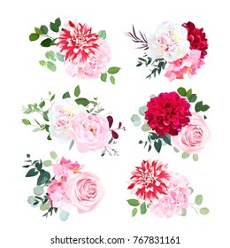 Small summer bouquets of pink rose, white peony, red dahlia, hydrangea, green plants, eucalyptus. Vector design set. Bunch of flowers. All elements are isolated and editable.