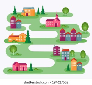 Small Town. Cartoon illustration with abstract map of countryside. Rolling landscape with small village and trees. Colorful houses. Cute street in flat design style. Architect concept. Vector is EPS8.
