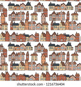 Small town homes vector illustration - seamless pattern.