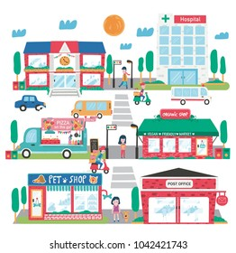 Small town landscape, consisting of pet shop, post office, organic supermarket, pizza truck, school , hospital, plus traffic, and walking people , all in flat doodle style design, illustration, vector