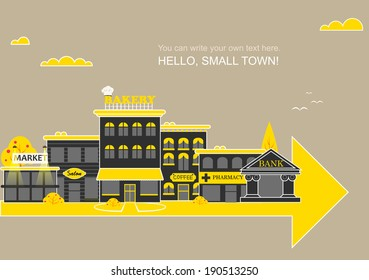 Small town with small and medium business. Bank building, bakery, salon, market, coffee shops and pharmacies. Street with people watching. Vector. For brochures, backgrounds, printed products.