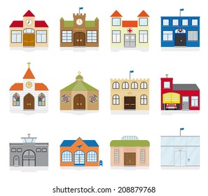 Small Town Public Building Icons Vector Illustration. Variety of public building and institutions symbols. Flat design, no gradients