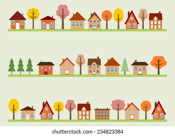 Small town street view with cartoon homes and autumn trees. European village street.