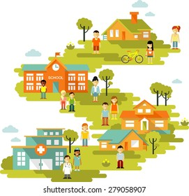Small town urban cityscape background with buildings and people in flat style