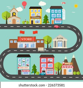 Small town urban landscape in flat design style, vector illustration. With small business, buildings,  roads, cars, trees, street with people, candy shop, barber shop, supermarket, books store etc
