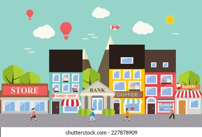 Small town urban landscape in flat design style, vector illustration. Includes small business, buildings,  trees, street with walking people, shops