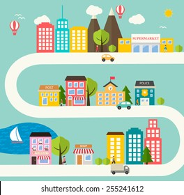 Small town urban landscape in flat design style, vector illustration. With skyscrapers, buildings, roads, cars, trees, street with people, pharmacy, school, police office, supermarket, post, shop