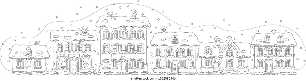 Small toy houses covered with snow on a cold and snowy winter day in a pretty town, black and white outline vector cartoon illustration for a coloring book page