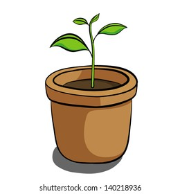 small tree in brown earthen pot / cartoon vector and illustration, isolated on white background.