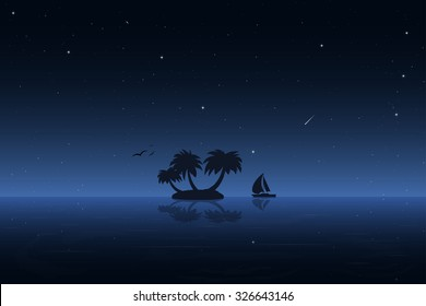 Small tropic island at night. Moored boat, birds, palm and stars.