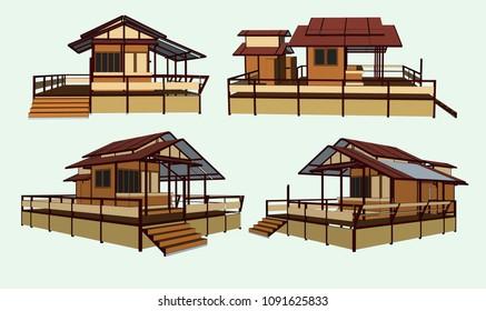 small tropical terrace restaurant, vector & illustration