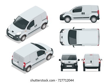 Small Van Car. Isolated vehicle, template for branding and advertising. Front, rear , side, top and isometry front and back. Change the color in one click. All elements in groups on separate layers.