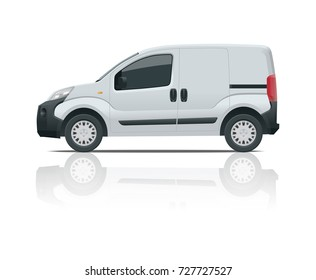 Small Van Car. Isolated vehicle, template for transport branding and advertising. Side view. Change the color in one click. All elements in groups on separate layers.