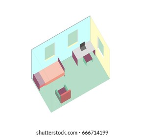 Small vector bedroom, flat simple isometric design. Room includes bed, table, chair, laptop, windows. Furniture pieces are grouped.