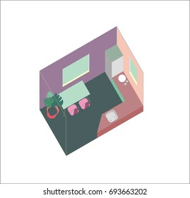 Small vector kitchen, flat simple isometric design. Room includes refrigerator, table, modern chairs, flower in a pot, kitchen desktop, sink. Furniture pieces are grouped.