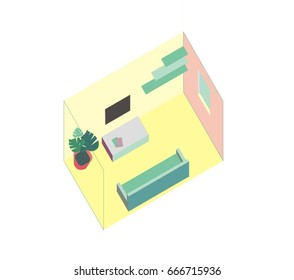 Small vector living room, flat simple isometric design. Room includes couch, table, tv, flower in a pot, shelf. Furniture pieces are grouped.