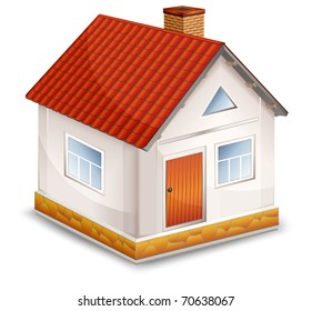 small village house with window door and red roof vector illustration