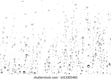 Small water drops texture vector. Rainy window overlay texture. Rain on glass background. Abstract halftone textured effect. Vector Illustration. EPS10.