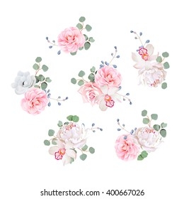 Small wedding bouquets of rose, peony, camellia, orchid, anemone, camellia, blue berries and eucalyptis leaves. Vector design elements.