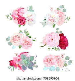 Small wedding bouquets of white and burgundy red peony, pink hydrangea, camellia, rose, succulents, eucalyptus. Birthday party flowers. Vector design set. All elements are isolated and editable.