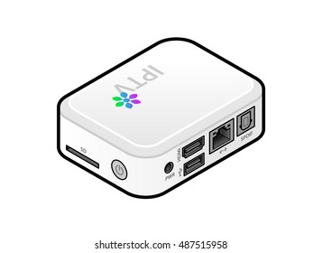 A small white IPTV set top box or integrated receiver decoder showing ports and connections.