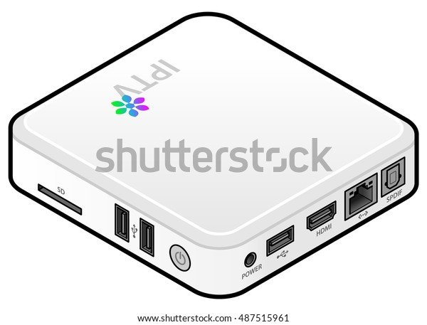 Small White Iptv Set Top Box Stock Vector (Royalty Free) 487515961