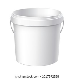 Small White plastic bucket. Product Packaging For food, foodstuff or paints, adhesives, sealants, primers, putty. Vector illustration