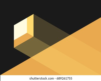 Small window and bright sun light falling through it in dark room. Hope, faith, optimism and opportunity concept. Flat design. EPS 8 vector illustration, no transparency, no gradients