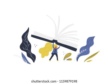 Small woman with giant books. Flat style vector illustration for book festival banner.