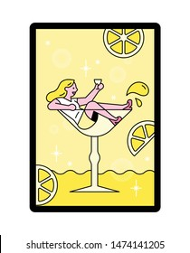 A small woman is sitting in a glass of lemon cocktail. Unreal and funny concept. flat design style minimal vector illustration.