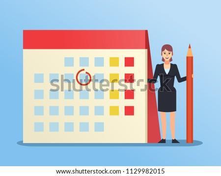 Small Woman Standing Near Big Calendar Stock Vector Royalty Free