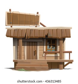 A small wooden building with a broken window. Vector.