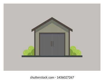 small wooden shed building simple illustration