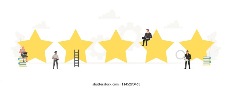 Small working people around big stars. Rating, positive review, quality work, feedback, evaluation system. Illustration for presentations on white background