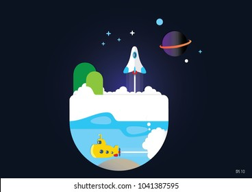 Small world paper cut style and geometric design concept of the world of exploration, Eps 10 vector
