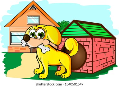 Small yellow dog with bone in it`s mouth secures the house in field with green grass and trees. Vector illustration.