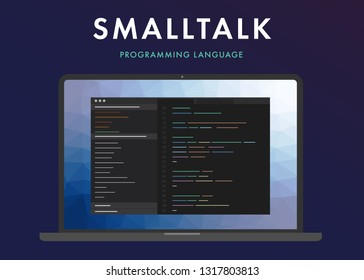 Smalltalk programming language. Learning concept on the laptop screen code programming. Command line interface with flat design and gradient purple background.