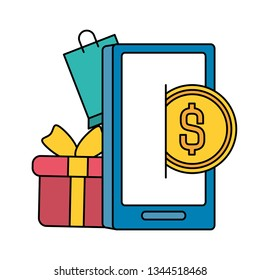 smarphone with shopping bag and gift