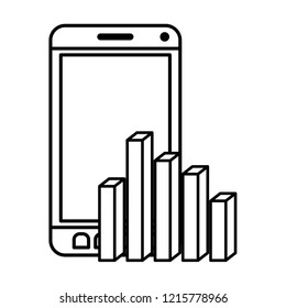 smarphone with statistics charts isolated icon