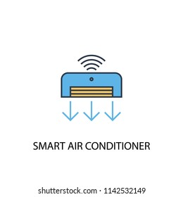Smart Air Conditioner concept 2 colored line icon. Simple yellow and blue element illustration. Smart Air Conditioner concept outline symbol design from Smart Home set