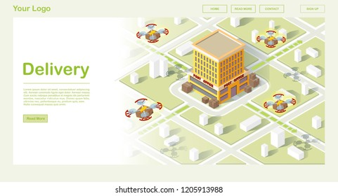 Smart air delivery isometric website template. Drones with boxes flying from post office. Drone delivery service. Air shipping infographic. Modern technologies. Web, app, banner design. Vector