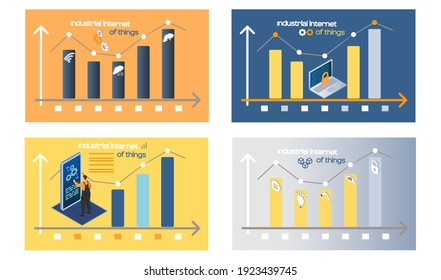Smart analytics industrial internet things. Diagrams consisting rectangular bars. Dynamics of growing changing indicators data analysis. Success business chart statictical graph 4ir revolution AI, IoT
