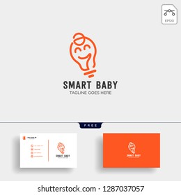 Smart baby or kids outline logo template with business card