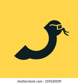 Smart Bird with glasses and worm in beak. Vector illustration flat style